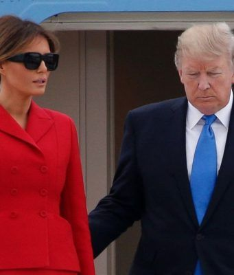 Donald Trump and Melania arrive in Paris