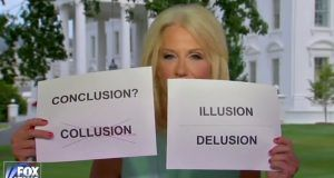 Kellyanne Conway uses props to describe Russia delusion