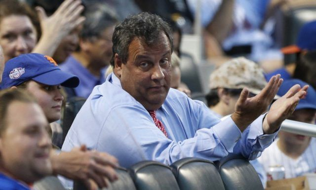 Chris Christie at Mets game