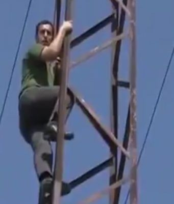 guy climbs high-voltage electric tower and gets electrocuted
