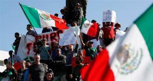 Tijuana illegal immigrants and protesters.