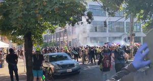 mob in seattle firing mortars and hurling explosives at police